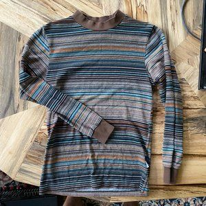 Publish Brown Striped Mock Neck Long Sleeve Tee